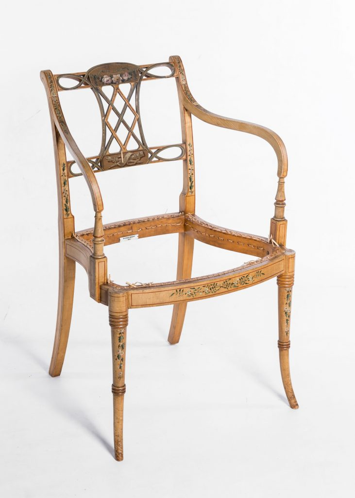 Fine hand painted satinwood chair