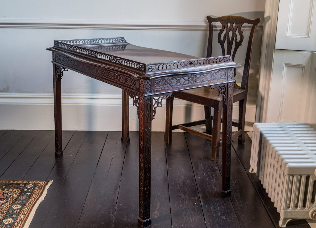 Fine example of Fret and blind Fret work on Georgian Writing Table