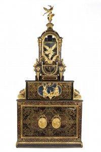 Clock on pediment cabinet