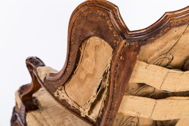 Back view of wing on armchair