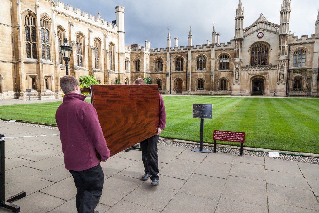 Delivering table back to Corpus Christi College, Cambridge