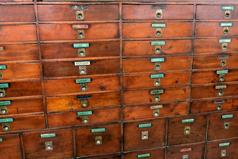 Beautiful example of office storage system after restoration